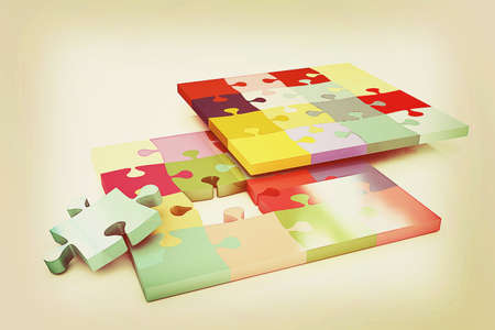 removable: Many-colored puzzle pattern (removable pieces). . 3D illustration. Vintage style. Stock Photo