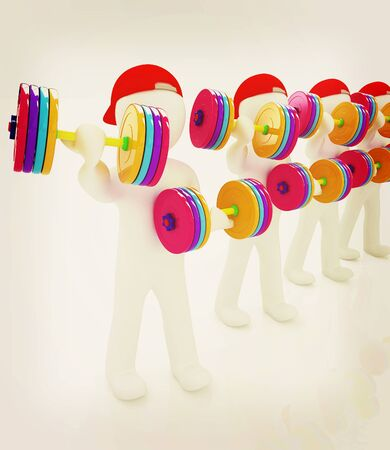 3d mans with colorfull dumbbells on a white background. 3D illustration. Vintage style. Stock Photo