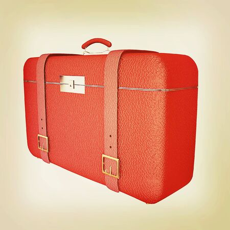 travelers: Red travelers suitcase on a white background. 3D illustration. Vintage style. Stock Photo