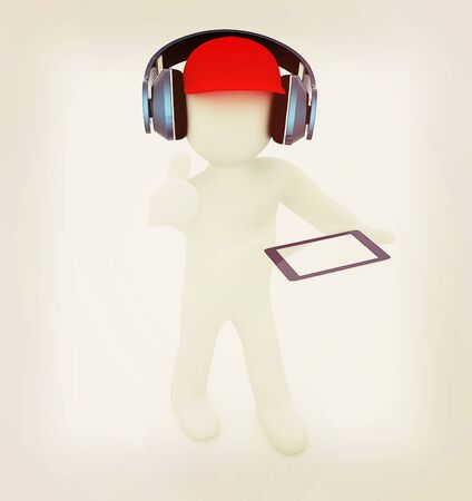ereader: 3d white man in a red peaked cap with thumb up, tablet pc and headphones on a white background. 3D illustration. Vintage style. Stock Photo