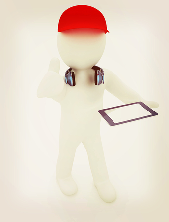 3d white man in a red peaked cap with thumb up, tablet pc and headphones on a white background. 3D illustration. Vintage style. Stock Photo