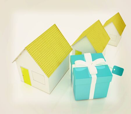 majority: Houses and gift . 3D illustration. Vintage style.