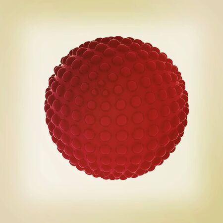 blotchy: Abstract glossy sphere with pimples on a white background. 3D illustration. Vintage style.