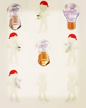 Set of 3d man with energy saving light bulb isolated on white . 3D illustration. Vintage style.