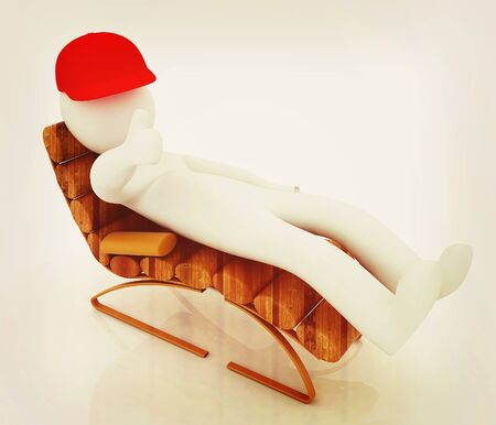 sammer: 3d white man lying wooden chair with thumb up on white background . 3D illustration. Vintage style.