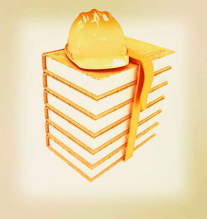 Stack of leather technical book with belt and hard hat on white background . 3D illustration. Vintage style.