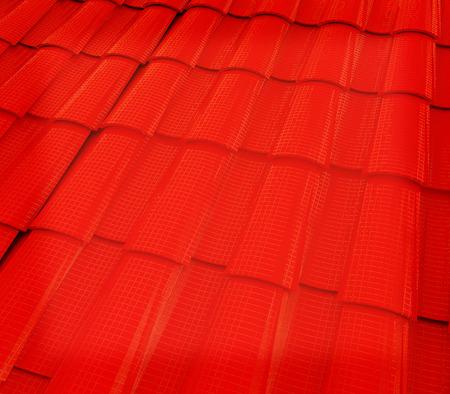coate: 3d red roof tiles. 3D illustration. Vintage style.