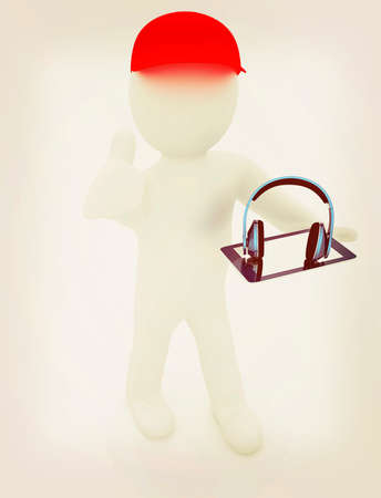 legs up: 3d white man in a red peaked cap with thumb up, tablet pc and headphones on a white background. 3D illustration. Vintage style. Stock Photo