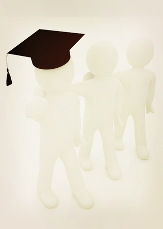 3d man in a graduation Cap with thumb up and 3d mans stand arms around each other on a white background. 3D illustration. Vintage style. Stock Photo