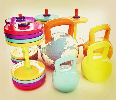 kilo: Colorful weights and dumbbells and earth. Global on a white background. 3D illustration. Vintage style.