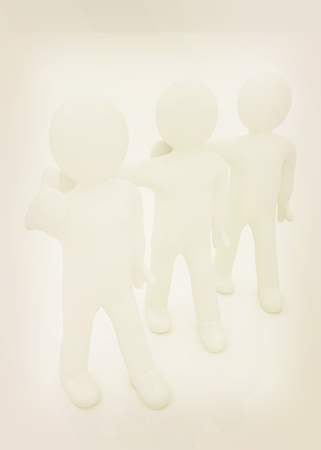 3d man with thumb up and 3d mans stand arms around each other on a white background. 3D illustration. Vintage style.