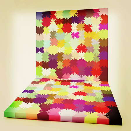 peculiar: Many-colored puzzle pattern (removable pieces). . 3D illustration. Vintage style. Stock Photo
