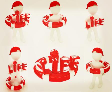 lifesaving: Set. Concept of life-saving with 3d man. 3D illustration. Vintage style.
