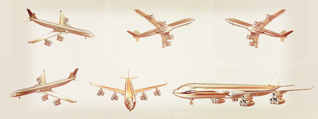 Set of airplane  on a white background. 3D illustration. Vintage style.