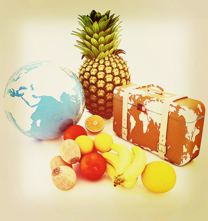 Citrus,earth and travelers suitcase on a white background. 3D illustration. Vintage style.
