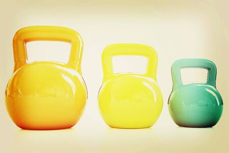 weights: Colorful weights on a white background. 3D illustration. Vintage style.