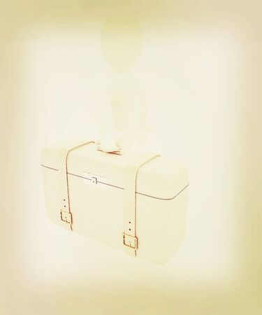 valise: Leather suitcase for travel with 3d man on a white background. 3D illustration. Vintage style.