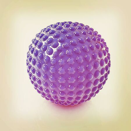 Abstract glossy sphere with pimples on a white background. 3D illustration. Vintage style.