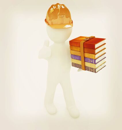 literary man: 3d man in a hard hat with thumb up presents the best technical literature on a white background. 3D illustration. Vintage style. Stock Photo