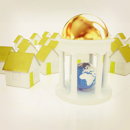 portico: Earth in rotunda and houses on a white background. 3D illustration. Vintage style.