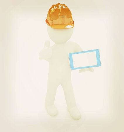 ereader: 3d white man in a hard hat with thumb up and tablet pc on a white background. 3D illustration. Vintage style. Stock Photo