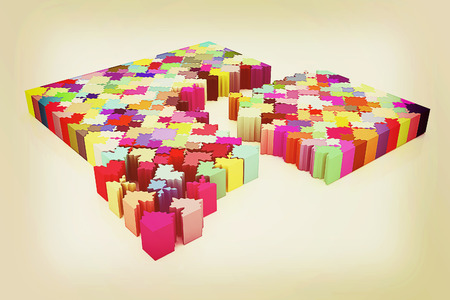 Many-colored puzzle pattern (removable pieces). . 3D illustration. Vintage style. Stock Photo