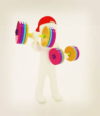 3d man with colorfull dumbbells on a white background. 3D illustration. Vintage style.