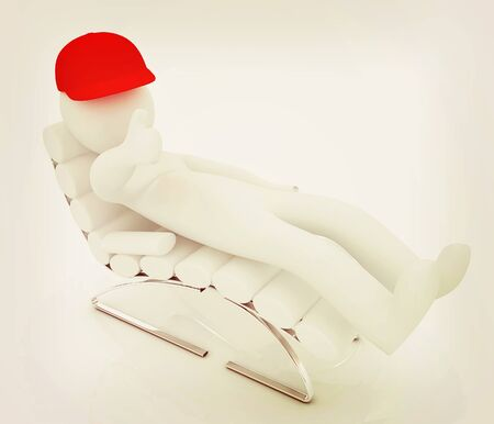 sammer: 3d white man lying chair with thumb up on white background . 3D illustration. Vintage style.