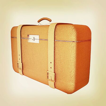 travelers: Brown travelers suitcase on a white background. 3D illustration. Vintage style. Stock Photo