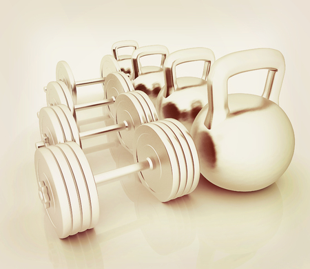 Metall weights and dumbbells on a white background. 3D illustration. Vintage style.