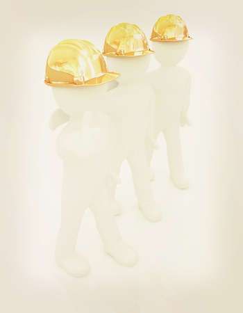 3d mans in a hard hat with thumb up. On a white background . 3D illustration. Vintage style.