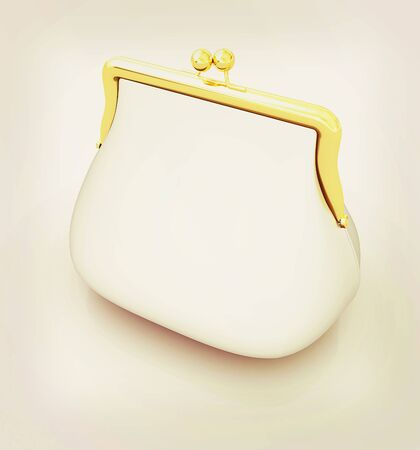 Metallic purse on a white background. 3D illustration. Vintage style.