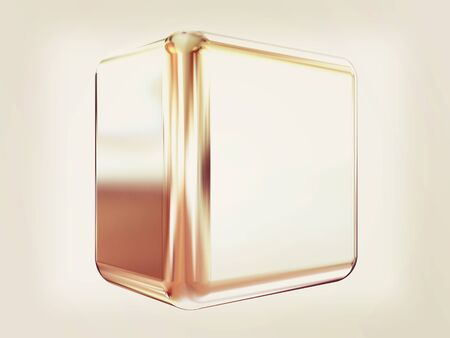 alone in the dark: Chrome shine cube on white . 3D illustration. Vintage style.