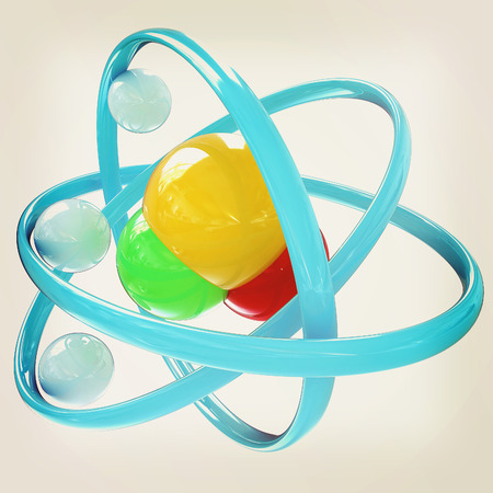 water molecule: 3d illustration of a water molecule isolated on white background. 3D illustration. Vintage style.