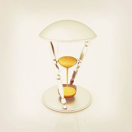 trickle: Transparent hourglass isolated on white background. Sand clock icon 3d illustration. . 3D illustration. Vintage style.