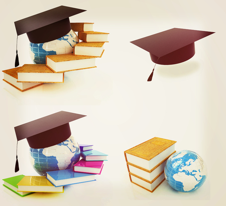 Global Education on a white background. 3D illustration. Vintage style. Stock Photo
