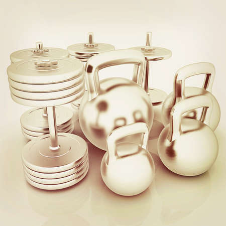 metall: Metall weights and dumbbells on a white background. 3D illustration. Vintage style.