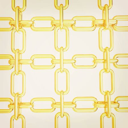 interlink: Gold chains isolated on white background. 3D illustration. Vintage style.