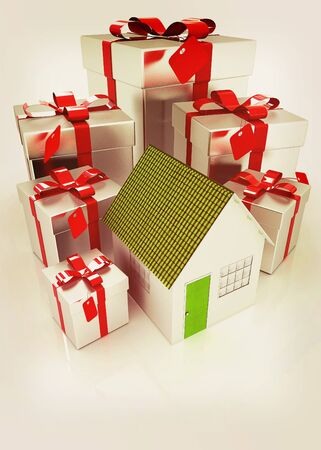 House and gifts. 3D illustration. Vintage style.