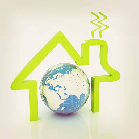 3d green icon house, earth on white background . 3D illustration. Vintage style.
