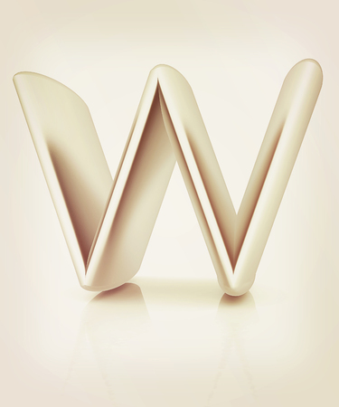 3D metall letter W isolated on white . 3D illustration. Vintage style.