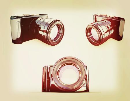 3d illustration of photographic camera on white background. 3D illustration. Vintage style. Stock Photo