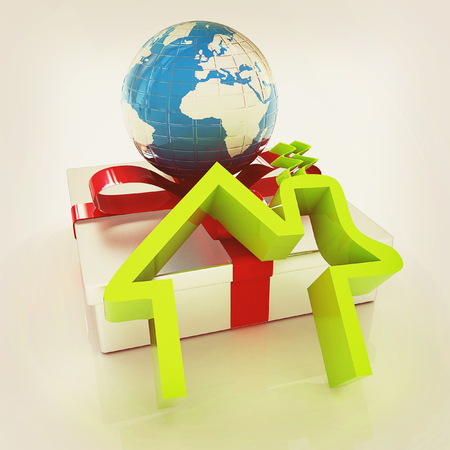 House icon, earth and gift. 3D illustration. Vintage style. Stock Photo