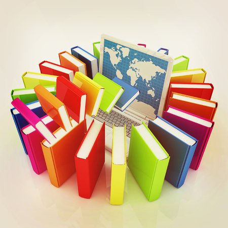 libros volando: libros de colores que vuelan y un ordenador portátil sobre un fondo blanco. Ilustración 3D. Estilo vintage.