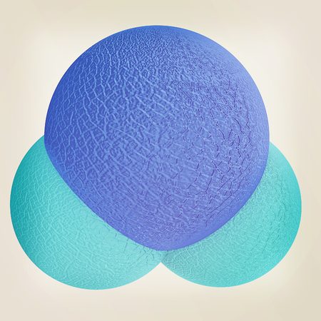 water molecule: 3d illustration of a leather water molecule isolated on white background. 3D illustration. Vintage style. Foto de archivo
