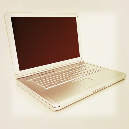 powerbook: Laptop Computer PC on a white background. 3D illustration. Vintage style.