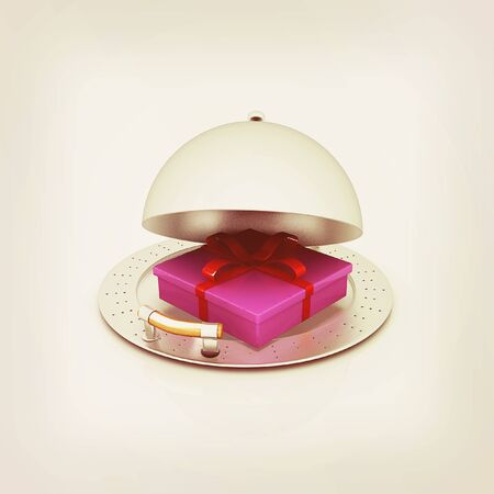 fine dining: Illustration of a luxury gift on restaurant cloche on a white background. 3D illustration. Vintage style. Stock Photo