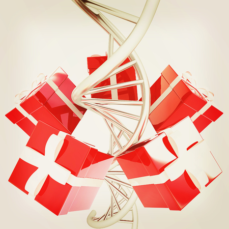DNA structure model and gifts on white background. 3D illustration. Vintage style. Stock Photo