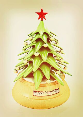 translucent red: Christmas tree on a white background. 3D illustration. Vintage style. Stock Photo
