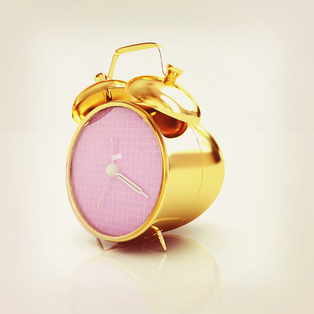 appointments: 3d illustration of glossy alarm clock against white background . 3D illustration. Vintage style. Stock Photo
